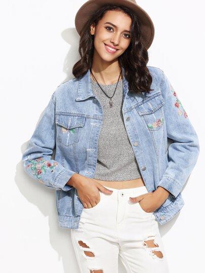 Blue Embroidered Pockets Denim Jacket