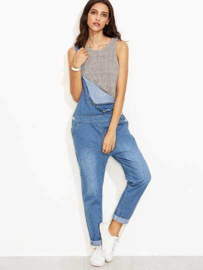 Blue Strap Ripped Hat Patch Overall Jeans