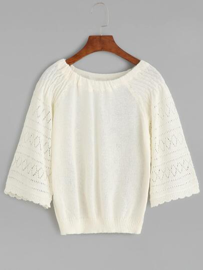 White Hollow Out Knit Sweater