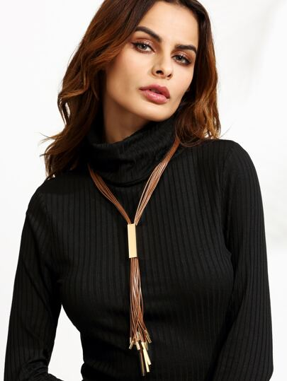 Brown Faux Leather Tassel Metal Trim Sweater Necklace