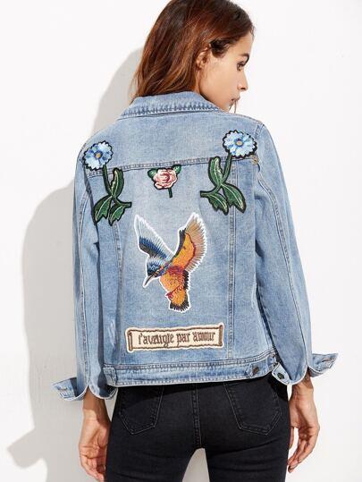 Blue Embroidered Studs Detail Denim Jacket