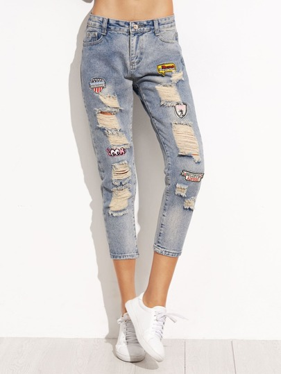 Blue Ripped Patch Cropped Denim Jeans