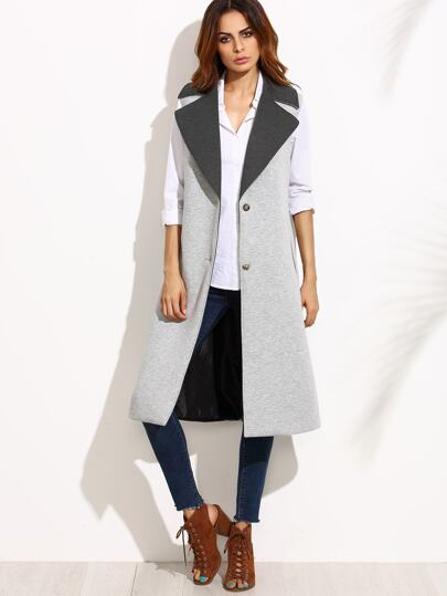 Heather Grey Contrast Collar Sleeveless Coat