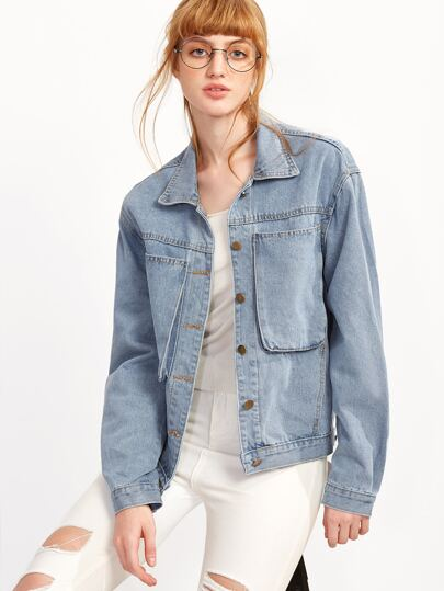 Pale Blue Pockets Denim Jacket
