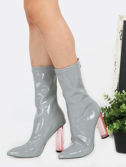 Patent Pointy Toe Perspex Boots GRAY