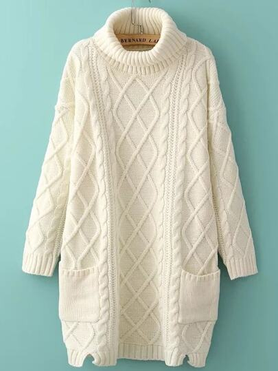 Turtleneck Side Slit Pocket Cable Knit Sweater Dress
