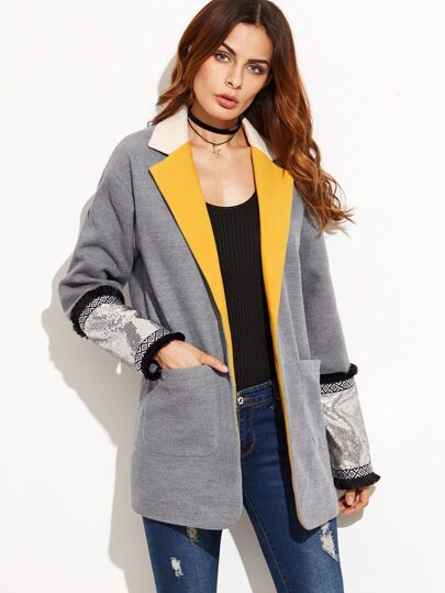 Grey Contrast Notch Collar Boyfriend Blazer With Sequin Cuff