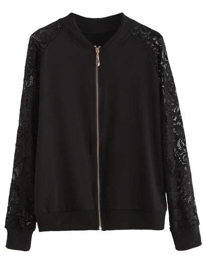 Black Lace Raglan Sleeve Bomber Jacket
