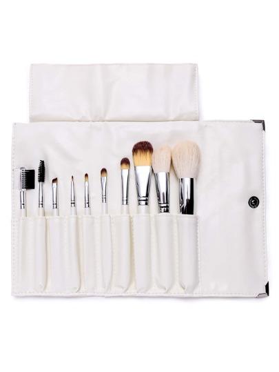 10PCS White Professional Makeup Brush Set With Bag