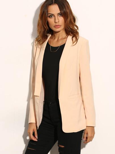 Light Pink Lapel Pocket Long Sleeve Blazer