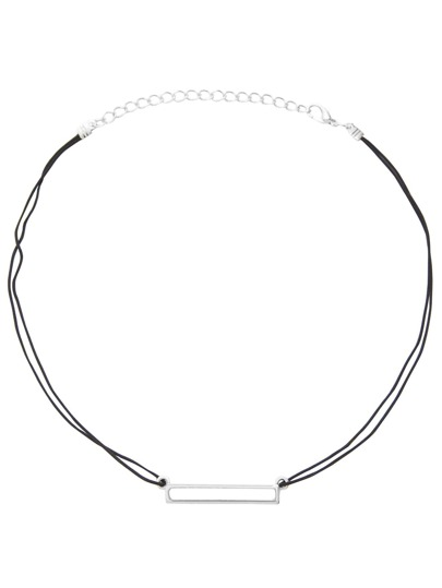 Silver Plated Horizontal Hollow Bar Choker Necklace