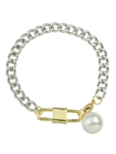 Imitation Pearl Chain Link Bracelet