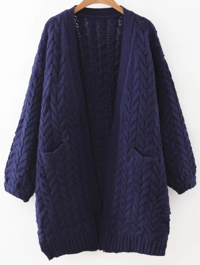 Navy Blue Open Front Cable Knit Sweater Coat With Pocket
