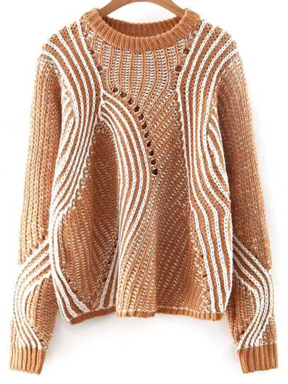 Khaki Mixed Knite Hollow Out Loose Sweater