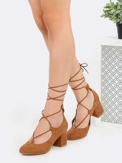 Lace Up Round Toe Block Heels CAMEL