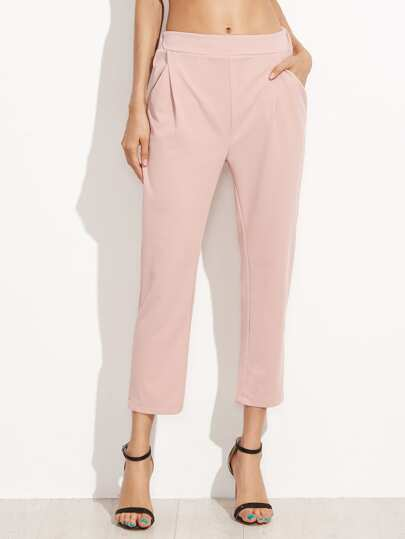 Pink Elastic Waist Pockets Pants