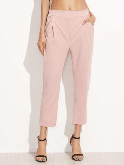 Pink Elastic Waist Pockets Pants