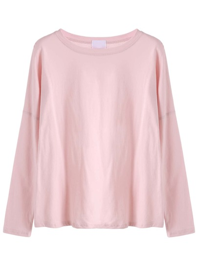Pink Drop Shoulder Loose T-shirt