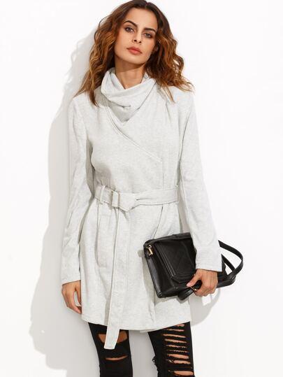 Heather Grey Drape Collar Wrap Coat