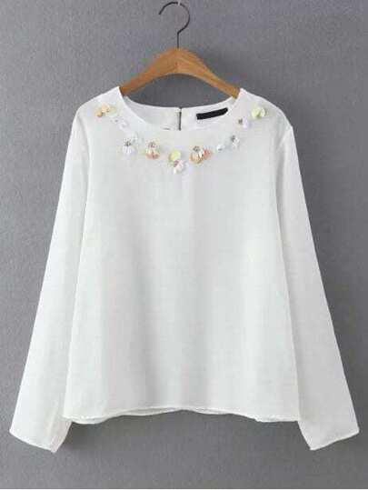 White Flower Applique Long Sleeve Blouse