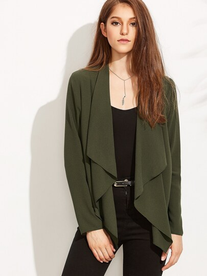 Olive Green Waterfall Collar Drape Blazer