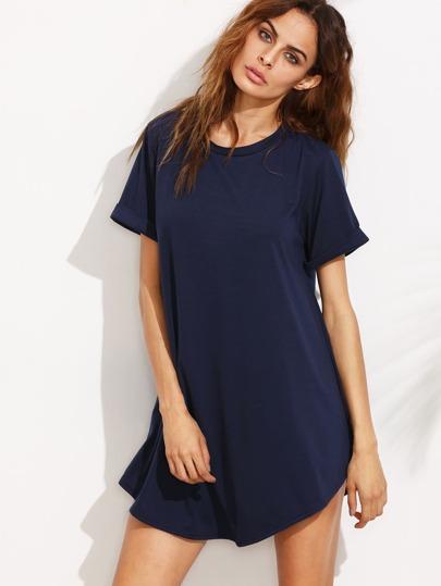 Navy Blue Cuffed Sleeve Shift Dress