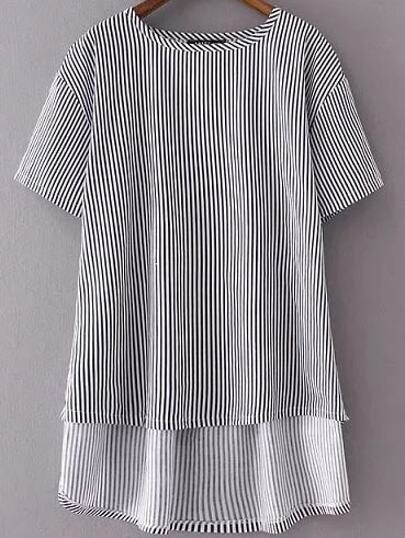 Striped Letter Embroidery Back Dip Hem Blouse