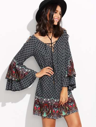 Multicolor Print Criss Cross Bell Sleeve Shift Dress