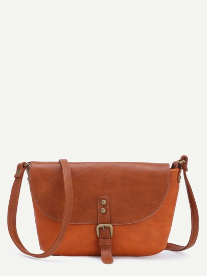 Brown Faux Leather Front Flap Buckle Shoulder Bag