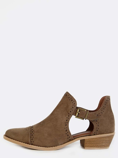 Buckle Cut Out Ankle Booties KHAKI