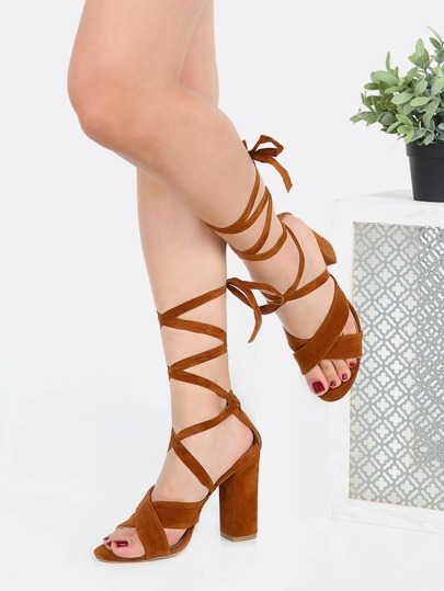 Lace Up Suede Chunky Heels CHESTNUT