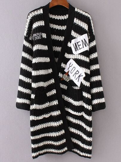 Black Striped Embroidered Patch Pocket Long Sweater Coat