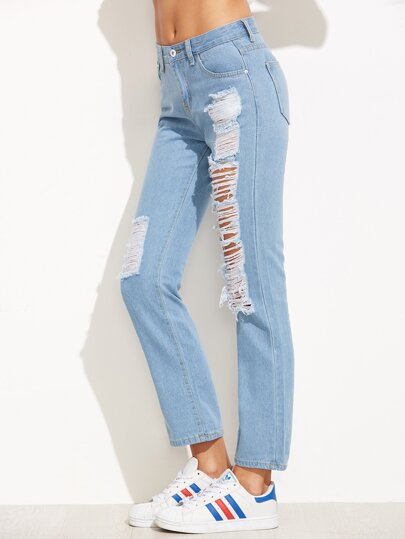 Blue Ripped Boyfriend Denim Jeans
