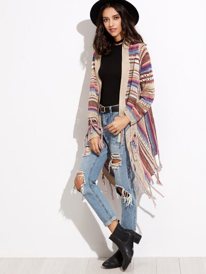 Striped Eyelet Fringe Cardigan