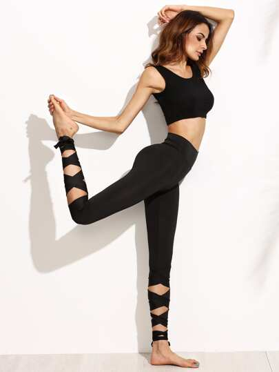 Wide Waistband Tie Up Leggings