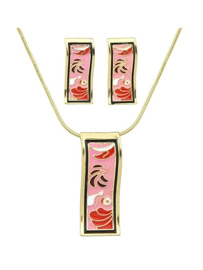Pink Enamel Geometric Pattern Necklace Earrings Set