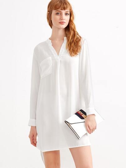 White V Neck Slit Side Dip Hem Shirt Dress