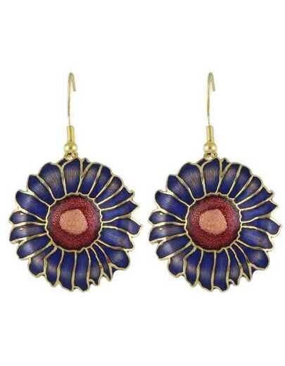 Blue Enamel Big Flower Earrings