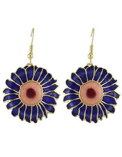 Blue Enamel Big Flower Drop Earrings