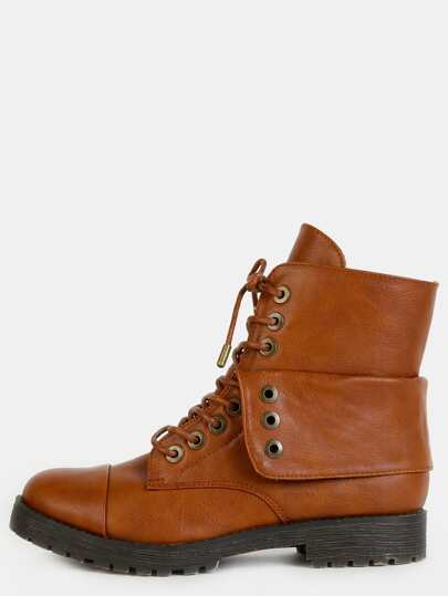 Fold Over Lace Up Combat Boots CHESTNUT