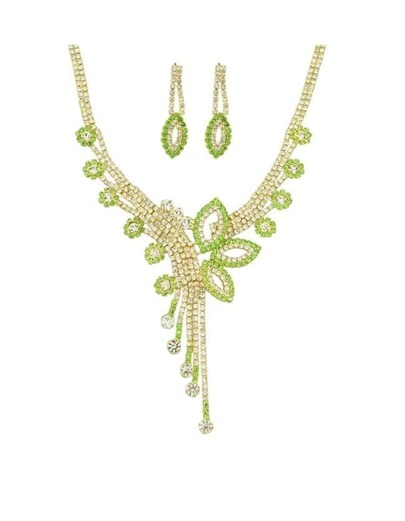 Green Rhinestone Jewelry Set