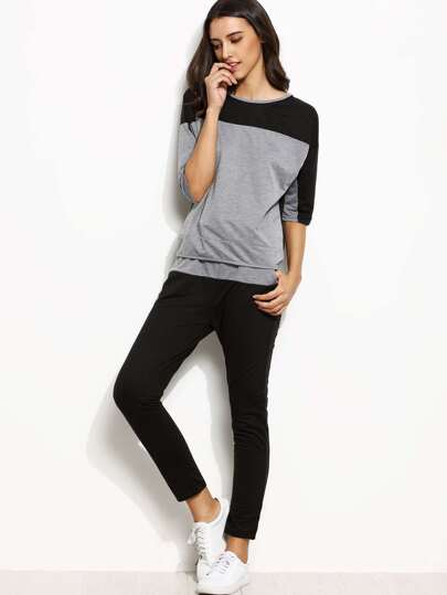 Color Block Half Sleeve T-shirt With Pants