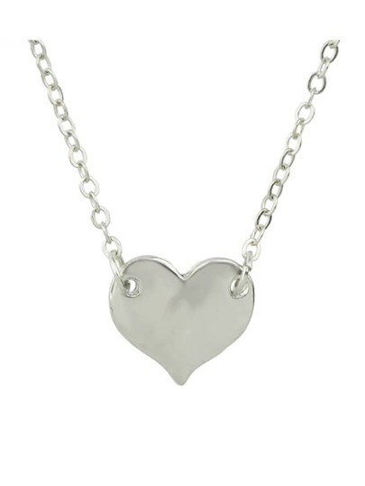 Silver Simple Model Metal Heart Pendant Necklace