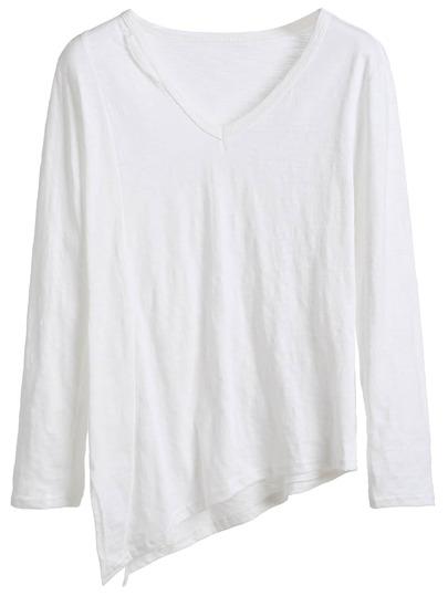 White V Neck Side Split Asymmetric T-shirt
