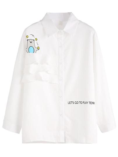 White Bear And Slogan Print Ruffle Shirt