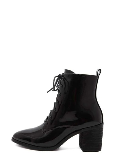 Black Patent Leather Pointed Lace Up Chunky Boots