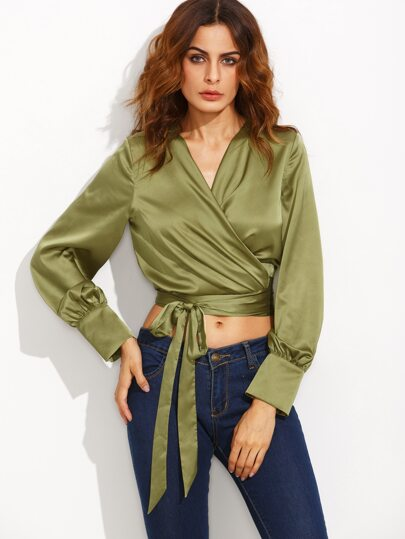Green Cuff Sleeve Surplice Wrap Silky Crop Top