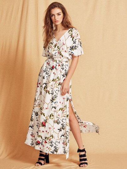 Multicolor Short Sleeve Maxi Dress