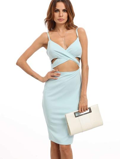 Blue Spaghetti Strap Crisscross Cutout Sheath Dress