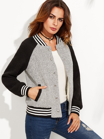 Grey Contrast Raglan Sleeve Striped Trim Tweed Bomber Jacket